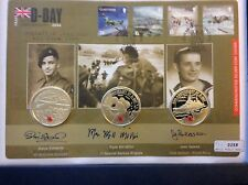 2004 Heroes of D-Day Triple Signed Silver Proof £5 Five Pounds Crown Coin Cover