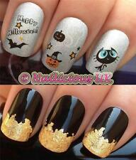 NAIL ART SET 481 HALLOWEEN BAT GHOST PUMPKIN WATER TRANSFER/STICKERS & GOLD LEAF