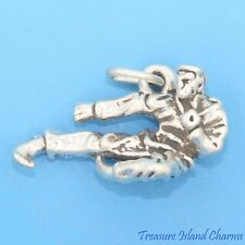 KARATE MALE WARRIOR IN FLYING SIDE KICK KARATEKA 3D .925 Sterling Silver Charm