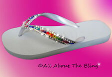 HAVAIANAS flip flops or Cariris Wedge with SWAROVSKI CRYSTALS White Rainbow