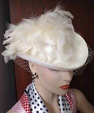 VTG WHITE FEATHERS PILLBOX TILT BIRDCAGE VEIL HAT BRIDAL 40s 1950s RE-ENACTMENT