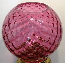 "7"" CRANBERRY OPTIC BALL 4"" Fitter Shade Oil Kero LAMP FIXTURE GLOBE"