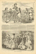 Children, Victorian, Fashion, Seaside, Vintage, 1868 Original, Antique Art Print