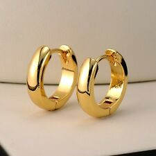 18k Yellow Gold Filled Smooth Earrings 15MM Women's Hoop Huggie GF Jewelry Gift