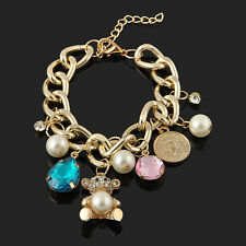 Fashion Women Jewelry Crystal Gold Plated Charm Chunky Chain Bangle Bracelet New