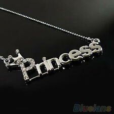 Princess Letters With Crown Silver Crystal Clavicle Pendant Necklace Chain Gift