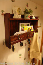 "24""w Handcrafted wall Letter Mail Organizer, Key Holder, Coat Rack, Red Mahogany"