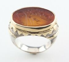 VINTAGE STERLING SILVER AND GOLD PLATED, GOLDEN INTAGLIO GLASS RING