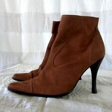 bebe Brown Tan Leather Suede Ankle Boots Heels Point Toe Shoes Sz 9M *