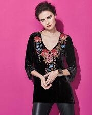 NWT $298 Johnny Was Amber Floral Embroidered Velvet Tunic XL P Trapeze Top