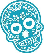 Blue Mexican Day Of The Dead Sugar Skull & Diamond Motif Car Sticker Decal  (C