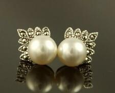 MARCASITE Sterling Silver Art Deco Style FRESHWATER Crown PEARL Stud Earrings