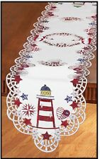 Cutwork Lighthouse, Shells & Stars Table Runner Red white & blue 68 x 13