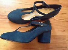 "New "" Clarks "" Size 5 Bianca Navy Teal T-bar Leather Suede Shoes (38 EU)RRP £49"