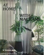 At Home with Macrame Vintage Pattern Book NEW Plant Hanger Room Divider Decor