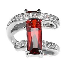 Women Fashion Red Ruby Gemstone 925 Silver Ring Wedding Jewlery New Size 9