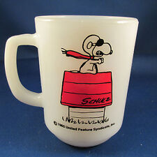 1965 Fire King Snoopy Curse You Red Baron Peanuts Coffee Mug Cup Milk Glass