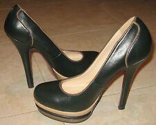 scarpe/decoltè PRIMA DONNA tacco alto-37-grigio/nero/nere con plateau-similpelle