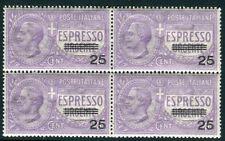 1917 Italia Regno Espresso 25 cent. su 40 cent. quartina centrata spl MNH **