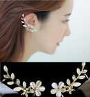 1 Pair Delicate Fashion Women Crystal Rhinestone Flower Ear Clip Cuffs Earrings