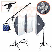 Studio Lighting Softbox Boom Kit - 2250w 3 Head - Continuous  Photography Video