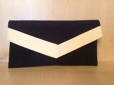 SMALL NAVY BLUE AND CREAM faux suede envelope clutch bag, fully lined BN