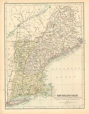 c1900 VICTORIAN MAP ~ NEW ENGLAND STATES MAINE NEW HAMPSHIRE VEMONT CONNECTICUT