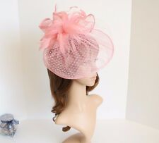 Jumbo 2015 NEW Church Derby Wedding Feather floral Sinamay Fascinator Pink 511