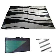 RV Awning Mat Reversible Outdoor 9x12 Black Silver Wave 9x12SW