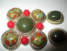 Vintage Large Green/Red Plastic Faux Stone Brooch Earrings Signed Sarah Cov--64