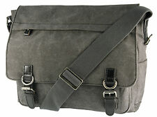 Troop London Large Canvas Messenger Shoulder Bag With Laptop Pouch - Black
