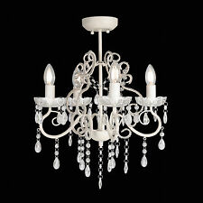 Glass CRYSTAL Ceiling CHANDELIER 4 Light Shabby French Provincial Lamp VIENNA