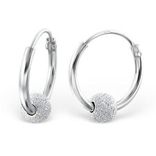 925 Sterling Silver Earrings - Small Hoops w/ Dusted Silver Balls - 12mm -Boxed