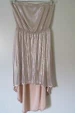 Lush Shimmery Pink Pleated Strapless Open Back Lined Hi-Lo  Dress SIZE:L