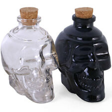Pair Of Glass Alcohol Decanter Shot Bottles Skull Head Design