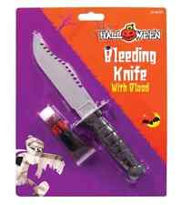 "RAMBO STYLE KNIFE PLASTIC FANCY DRESS 9"" SCREAM DAGGER WITH FAKE BLOOD HALLOWEEN"