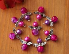 12x Angel Charms Pendants Round Crackle Beads Wings Pink Purple Silver Wings