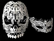 Men Women Couple White Metal Evil Skull And Venetian Laser Cut Masquerade Mask
