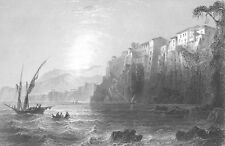 Italy, SORRENTO, BAY OF NAPLES AMALFI COAST ROAD ~ Old 1841 Art Print Engraving