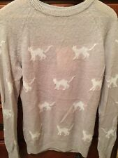 WILDFOX COUTURE SILVER CATS SWEATER NWT AUTHENTIC RARE WHITE LABEL SIZE L