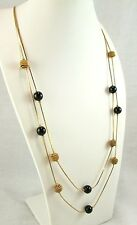 Claire's 2 Strand Gold Tone Chains Gold & Black Bead Stations Necklace