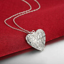 925 Silver Necklace Heart Photo Frame Pendant Women Fashion Jewelry