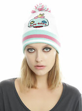 Disney Lilo & Stitch SCRUMP DOLL Varsity Pom Beanie Hat Cap Pink/Green/White NEW