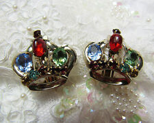 Sterling Silver Glass Jewel Encrusted Signed GLAMOUR Clip Crown Tiara Earrings