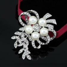 Alloy Silver Plated Rhinestone and Pearl Flower Wedding Brooch Pin