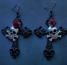 """Large 4"""" Black cross*silver skull*Red rose*Earrings*Goth*Pagan*Pirate*Halloween"""