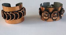 Pair of Rebajes Copper Bracelets, Signed Cuff w/Coils, Link w/Textured Flowers