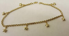 BEAUTIFUL 14CT SOLID GOLD BELCHER STAR CHARM ANKLE BRACELET