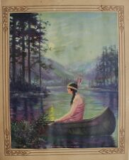 Vintage Indian Maiden Print Calendar Harper Princess Blue Ridge Native American