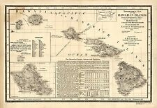 "1893 MAP of Hawaiian Islands, Hawaii, Maui, Oahu, Kauai, Antique Print, 20""x14"""